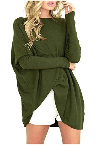Odosalii Damen Casual Lose Pullover Asymmetrische Fledermaus Sweatshirt Oversized Oberteil Tunika Tops