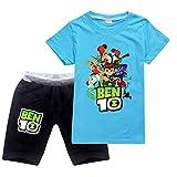 Zbcoopl Be-N 10 - Juego de camiseta y pantalones cortos de algodón de manga corta para niños y niñas, atléticos y niños