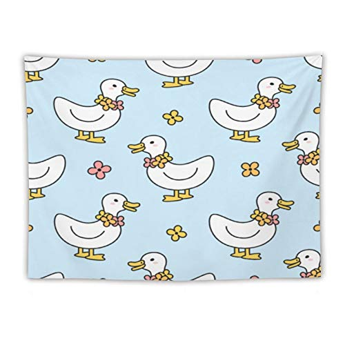 Quality Wall Hanging Tapestries Cute Duck Flowers Necklace Seamless Pattern printing Blanketwall Tapestry for Living Room Bedroom Dorm Home Decor 60''×80''