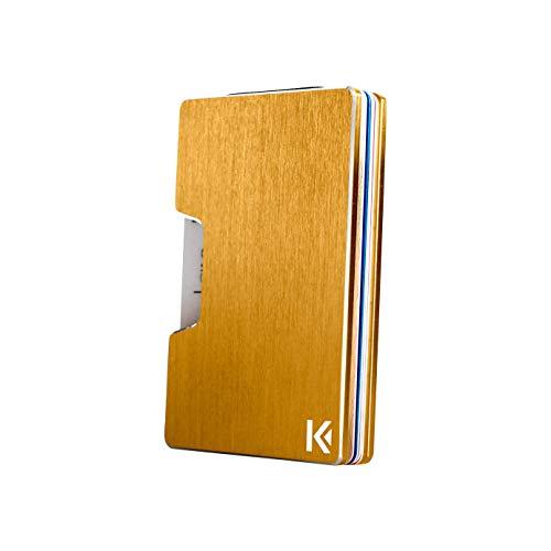 KARCAJ® Classic - Cartera Tarjetero Minimalista con Protección Antirrobo RFID y NFC. Tarjetero Metálico para Tarjetas de Crédito y Billetes para Hombre y Mujer (Gold Edition)