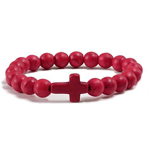 Pulsera de cruz negra esmerilada con cuentas hechas a mano para hombres y mujeres, cadena de fitness para parejas, color rojo