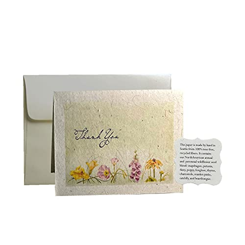 Seed Bloom Seed Paper Thank You Cards Embedded with Wildflower Seeds & Recycled Seeded Paper Tags (6 x Thank You Card with Envelopes, Planting Guide and 1 x Seed Bloom Tag)