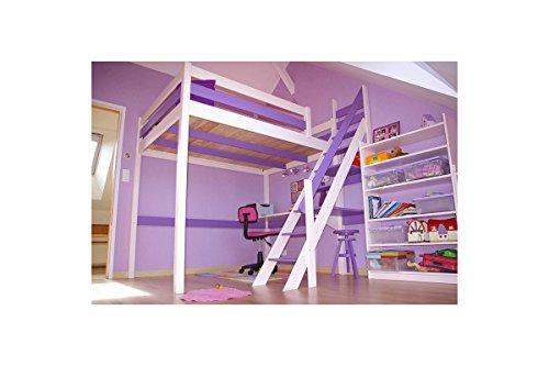 ABC MEUBLES - Cama Alta Sylvia con Escalera empinada - 1130 - Blanco/Lila, 120x200