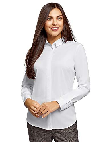 oodji Ultra Mujer Camisa Básica Entallada, Blanco, ES 36 / XS