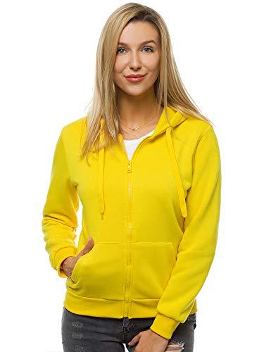 OZONEE Damen Kapuzenpullover Sweatjacke Sweatshirt Farbvarianten Kapuzenjacke Kapuzenpulli Kapuze Langarm Hoodie Sport Style Casual Fitness Training Basic JS/W03 GELB S