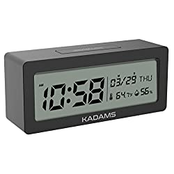 KADAMS Battery Digital Alarm Clock with Snooze, Backlight, Calendar Month Date Day, Temperature and Humidity, Low Battery Indicator, Small Portable Travel Clock, for Shelf Desk Table - Black
