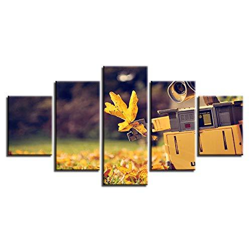 INFANDW Leinwand Leinwanddrucke Ahornblatt Und Kamera Wandkunst 5 Stück 150x80cm Für Hauptdekor Dekoration (Rahmenlos)