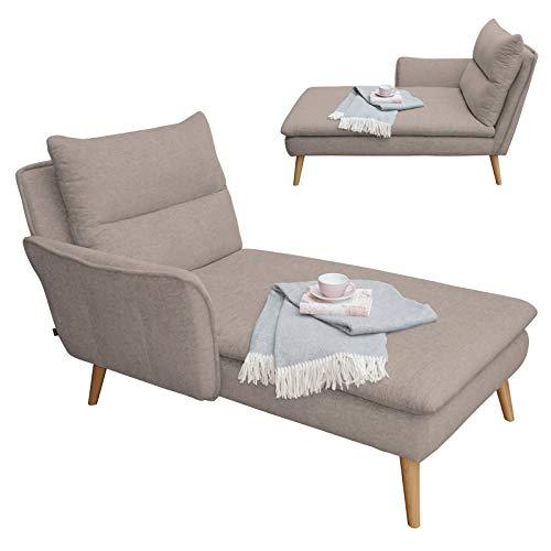 place to be. 3-Sitzer Sofa + Recamiere Links - Eck-Sofa Eck-Couch skandinavisch auf Holzfüssen (Sand Zwei, Buche massiv)
