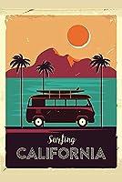 ヴィンテージメタルティンサインサーフィンカリフォルニア海岸線ヴィンテージヴァンパームツリーバークラブカフェファームの家の装飾アートポスターのためにクール