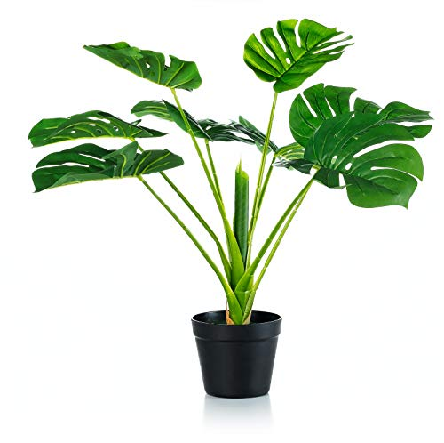 Artificial Monstera deliciosa Plant 26 Inches Faxu Tree Potted for Indoor Outdoor Home Office Store Housewarming Gift Decoration