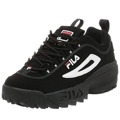 FILA Men's Strada Disruptor, Black/White/Vin Red