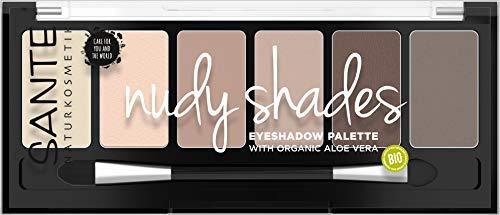 Sante Naturkosmetik Eyeshadow Palette Nudy Shades, Lidschattenpalette, Sechs aufeinander abgestimmte Nude-Nuancen, Hochpigmentierte Textur, Vegan, 6g