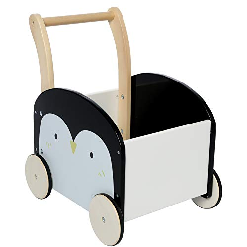 labebe - Baby Walker, Push Toy for 1-3 Years Old, Infant Wooden Walker, Toddler Outdoor Activity Walker, Children Walker Toy with Wheels,Cute Penguin
