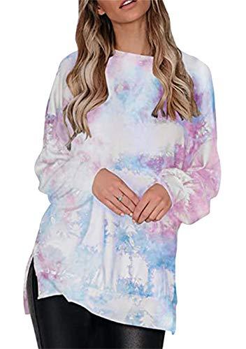 EFOFEI Sudadera para mujer Tie-Dye sin tirantes, de arcoíris, camiseta de manga larga con tinta casual., S-multicolor., XXL