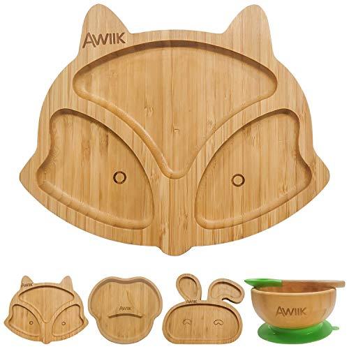 AWIIK – Plato de Bamboo con fuerte Ventosa para Bebes y niños pequeños. Plato BLW antideslizante con succión. Plato infantil de bambú antivuelco para tronas para aprender a comer BLW (Fox)