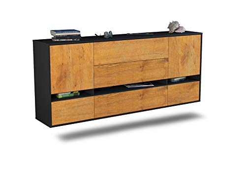 Dekati Sideboard Athens hängend (180x77x35cm) Korpus anthrazit matt | Front Holz-Design Eiche | Push-to-Open | Leichtlaufschienen
