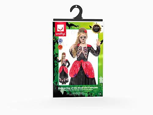 SMIFFYS Costume deluxe Giorno dei morti da ragazza, Nero, con vestito e fascia per capel