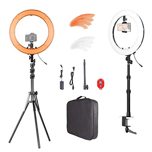 Emart 18 inch LED Ring Light Kit, Outer 55W Adjustable Color Temperature 3200K-5500K Makeup Ringlights with Table Clamp, Phone Holder, Carrying Bag, Bluetooth for Camera, YouTube, TikTok, Photography