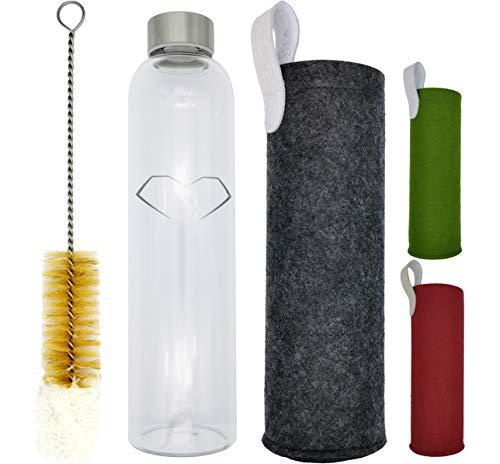 EventHeart, Glasflasche 750ml aus Borosilikat-Glas mit Edelstahldeckel und Schutzhülle, Trinkflasche 0,75l mit Filzhülle und Reinigungsbürste (grau)