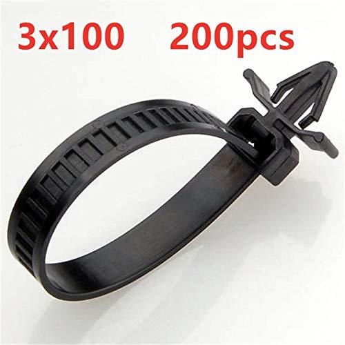 KEHUITONG QDGXL 200pcs 3x100mm Empuje de Montaje Lazos de Alambre, Tornillo del Cable de Nylon Montar Brida de plástico Banda de Cierre de Lazo (Color : Black)