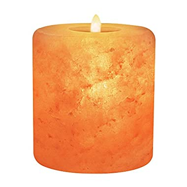 Himalayan Glow Natural Pink Salt Candle Holder, Home Décor, Round Cylinder Style Hand Carved Tealight Candles