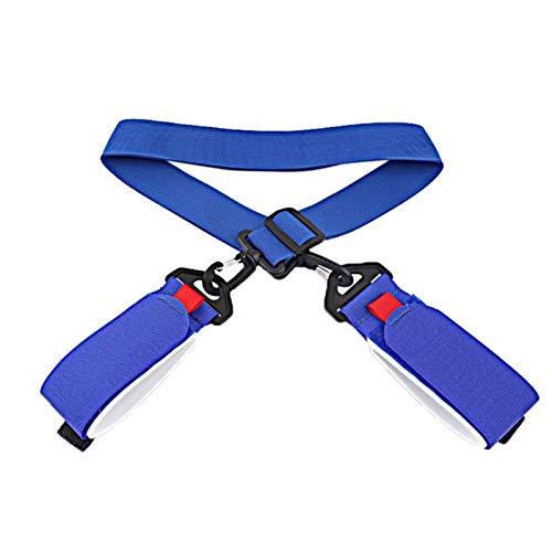 N\A Polos de esquí Ajustables Portador de Manos de Hombros Tallas de pestañas Correas Porter Gancho Bucle Protegido Negro Nylon Ski Manija Correa Bolsas (Color : BL)