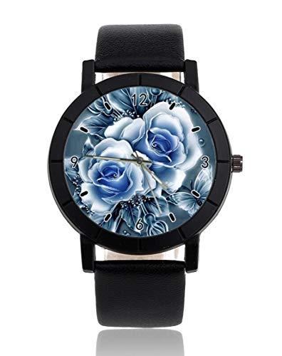 Orologio personalizzato con fiori in blu ghiaccio e acqua sono come giada e farfalle personalizzato orologio casual nero cinturino in pelle orologio da polso per uomini donne unisex