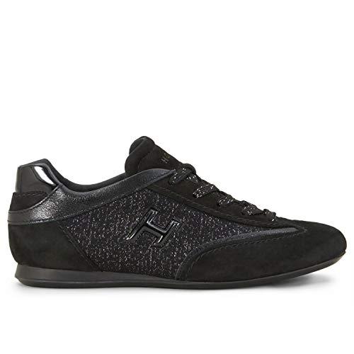 Hogan Olympia Sneakers schwarz aus Leder und Shiny Stoff - HXW0570BH60M7JB999, Schwarz - Schwarz - Größe: 37 EU