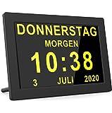 Reloj digital con calendario y ancianos, reloj digital, despertador, calendario para personas mayores y demencia, Alzheimer (7 pulgadas, negro)