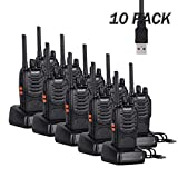 Long Range Walkie Talkie 88E (Updated Version), 2 Way Radio with Rechargeable Li-ion Battery and Earpieces (10...