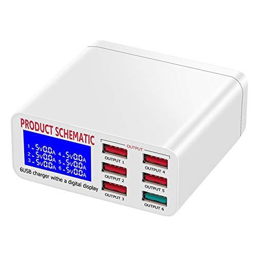 QiKun-Home LCD Multi Cargador USB rápido Carga Varias 6 Estaciones de Carga de teléfono USB Universal USB HUB Cargador Inteligente Blanco EU 220V Carga rápida