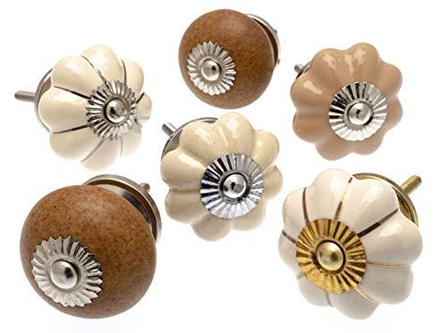 6er-Set Keramikknöpfe von Mango Tree -wohltuende Palette aus Naturstein, Kollektion mandelweißer Keramikknöpfe, (MG-283) TM - eingetragenes Produkt