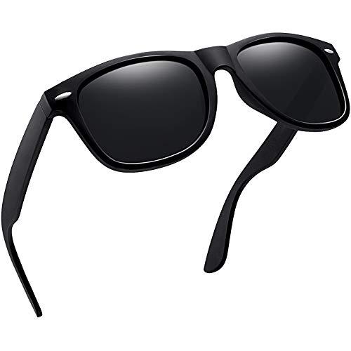 Joopin Occhiali da Sole da Uomo Polarizzati Rettangolari, Classico Unisex Square Lenti Polarizzate Occhiali da Sole Protezione UV Donna (Nero matte confezione semplice)