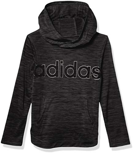 adidas Girls' Big Long Sleeve Hooded Tee T-Shirt, Melange ADI Black Heather, L
