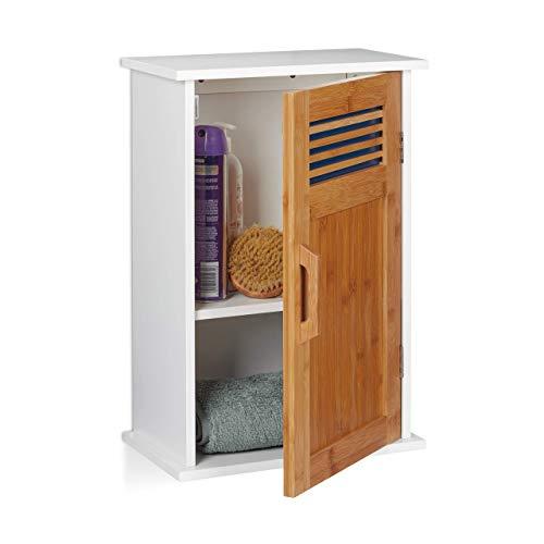 Relaxdays, Blanco y marrón, 51,5 x 35 x 20 cm Armario de baño, MDF, bambú, una Puerta, Dos estantes