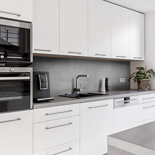 Dedeco Küchenrückwand Motiv: Beton V1, 5mm Hartschaum Kunststoffplatte PVC als Spritzschutz Küchenwand Wandschutz wasserfest, inkl. UV-Lack glänzend, alle Untergründe, 220 x 60 cm