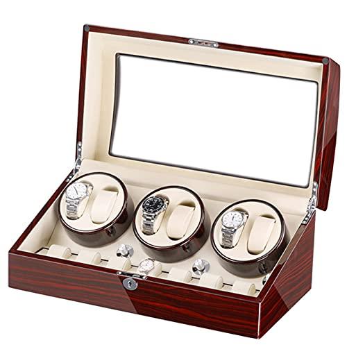 ANTLSZH Reloj Automático Winder con 6 Reloj De Motor Running Reloj Windering Pantalla Reloj Flexible Almohadas De Cuero De Cuero De Fibra De Lujo para Hombre/Relojes De Mujer