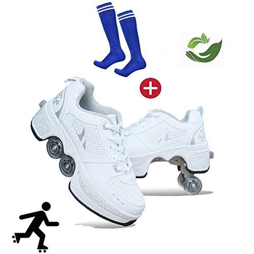 GWYX Roller Skates, Skating-Schuhe Für Männer Und Frauen Automatische Wanderschuhe Für Erwachsene Unsichtbare Riemenscheibenschuhe Skates Mit Zweireihigem Deform-Rad,White-40