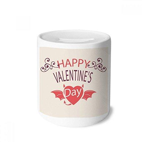 DIYthinker Caixa de moedas de cerâmica Happy Valentine's Day Heart Devil Wings para presente de cofrinho