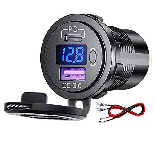 QC3.0 USB Presa e Tipo C PD per Auto, 12V/24V QC 3.0 Dual USB Porta Carica Rapida con Voltmetro LED Indicazione per Moto
