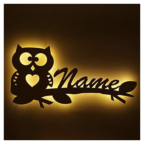 Eule Nachtlicht Lampe mit Namen für Kinderzimmer Jungs Mädchen Frauen