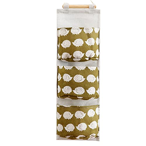 Shuiyuan Wandmontierte Aufbewahrungstasche mit 3 Taschen, Leinenstoff, wasserdicht, Wandtür, Schrank, Hängeorganizer für Schlafzimmer und Badezimmer.