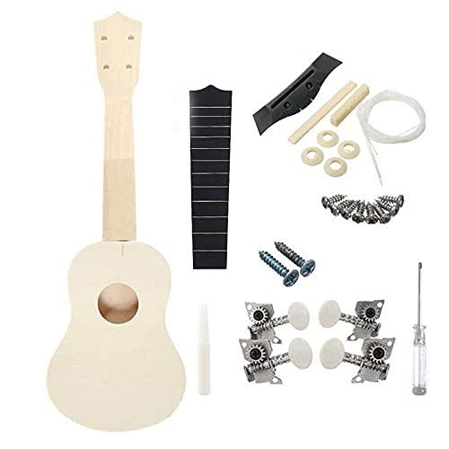QiKun-Home Ensamblar Ukelele de 21 Pulgadas DIY Guitarra pequeña para niños Juego Redondo Durable y práctico Guitarra pequeña de Madera Color de Madera A