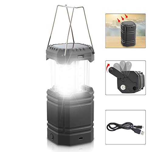 LED Solar Camping Lantern Rechargeable, Hand Crank Lantern Flashlight with 3 Powered Ways & USB Cable(5V DC),3000mAh Power Bank Emergency Camp Lights, Collapsible,Waterproof for Survival Kit&Hurricane
