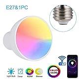 Fesjoy E27 WiFi Bombilla de luz Inteligente LED RGBW 6W Lámpara de Intensidad Regulable Taza Compatible con Alexa y Google-Home Remote