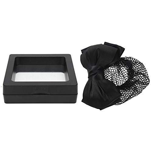 Timagebreze 1pcs Black Two Layers Polyester Bowtie Hair Bun Cover Hairclip &1pcs Square 3D Albums Floating Frame Holder 7X7cm