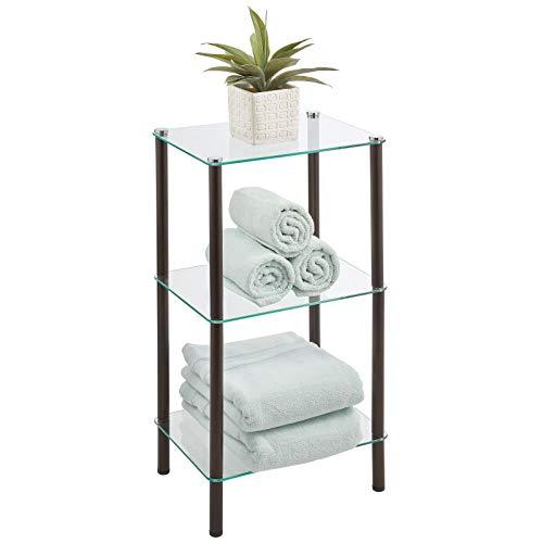 mDesign Organizador de baño de diseño para ahorrar espacio – Estantería moderna de metal con 3 estantes de vidrio – Mueble de baño ideal para cosméticos, toallas y más – color bronce y transparente