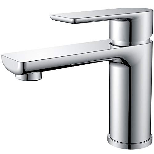 DUTRIX Wasserhahn Bad Eitelkeit Waschtisch für Waschbecken armatur Wasserhahn Waschtischbatterie, G3 / 8, 35mm-Einloch Waschtischarmaturen (Chorm)