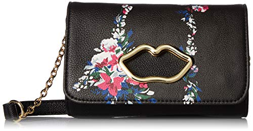 Add a little sugar to your handbag collection with the adorable Betsey Johnson® Lip Cutout Crossbody. Faux-leather construction. Magnetic snap closure. Shoulder strap with chain detail. Exterior boasts metal lips and floral detail. Lined interior fea...
