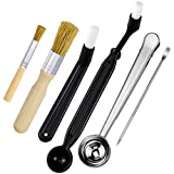 Dreamtop Coffee Machine Cleaning Set 4 Pieces Coffee Grinder Brush with Stainless Steel Spoon Clip Coffee Art Stencils Pen for Home Kitchen Office